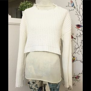 Forever 21 large Knit Distressed Crop Sweater